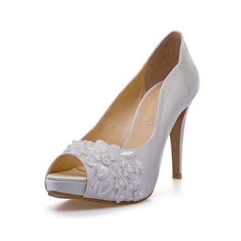 Wedding Shoes White by Lovella Ivory White Lace Adorned Wedding Shoes Ivory