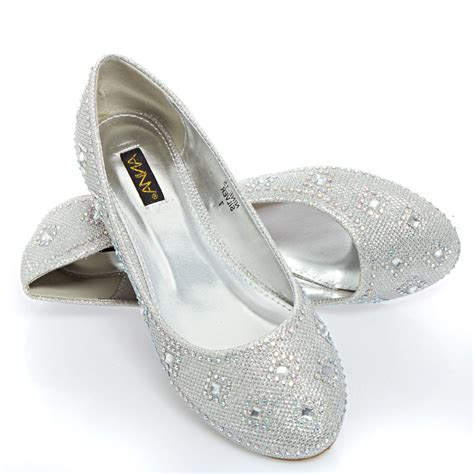 flat shoes for a wedding womens silver wedding bridal prom glitter rhinestone