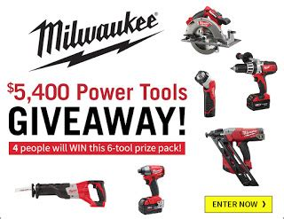 Milwaukee Tool Sweepstakes 2017 - milwaukee tools prize pack giveaway 4 winners win 6 power tools each cordless tool
