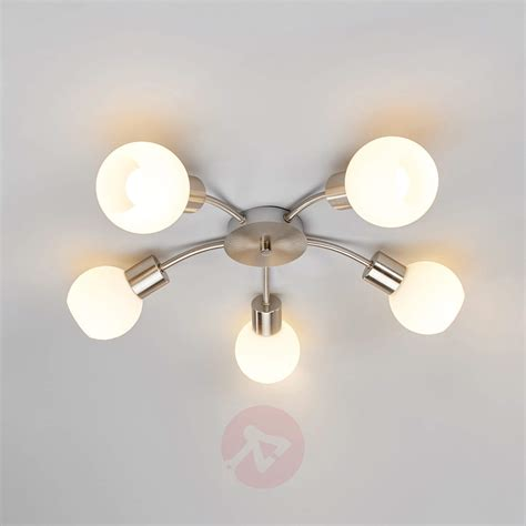round 5 bulb led ceiling light elaina nickel matte