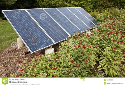 backyard solar power solar panel in a garden stock photos image 10874873