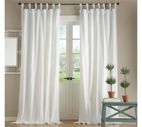 look on top of the curtain textured cotton tie top drape pottery barn