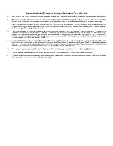 Standard Ucc Financing Statement Addendum Free Download Ucc Security Agreement Template
