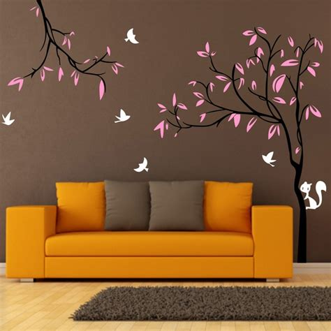 Giant Wall Stickers For Nursery giant tree birds squirrel nursery wall stickers removable