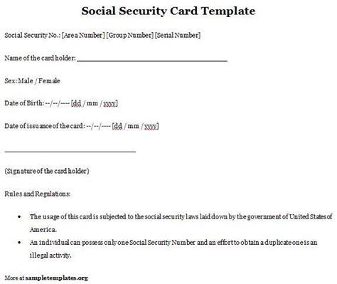 28 social security card template free social