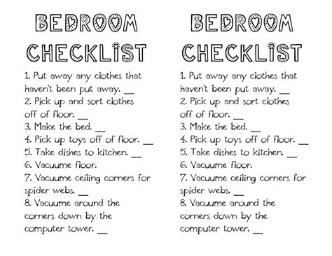 bedroom cleaning checklist little gene green bean