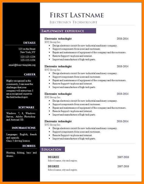 Resume Templates Open Office by Openoffice Resume Template Resume Ideas