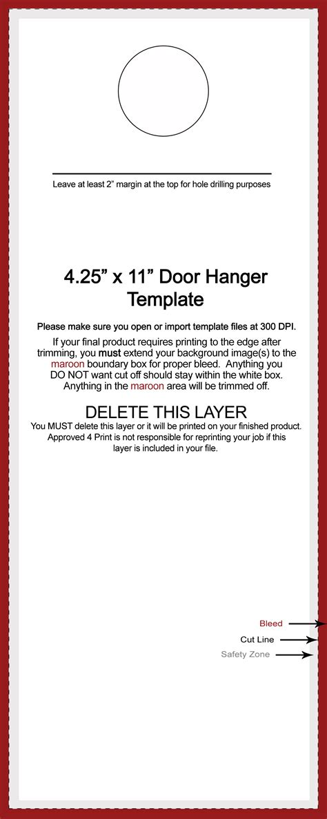 Untitled Document Approved4print Com 4 25 X 11 Door Hanger Template