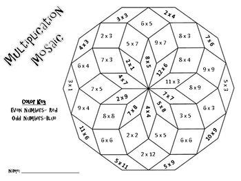 color by number multiplication worksheets multiplication mosaics solve and color by number pack