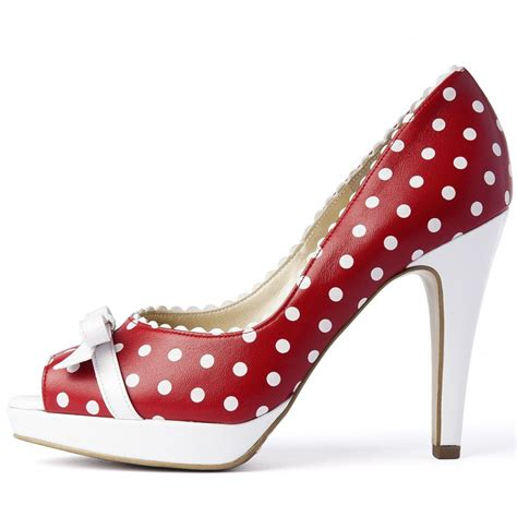 high heel shoe for kaiser and white polka dot high heel