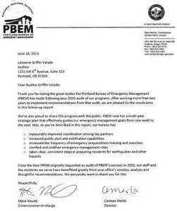 Commitment Letter Ema Emergency Management Audit Report The City Of Portland Oregon