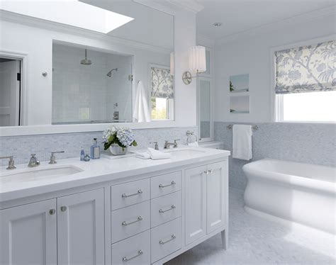 blue backsplash transitional bathroom artistic