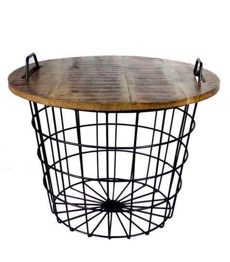 Table Basse Ronde Style Industriel en Bois et Métal Flexo   Wadiga.com