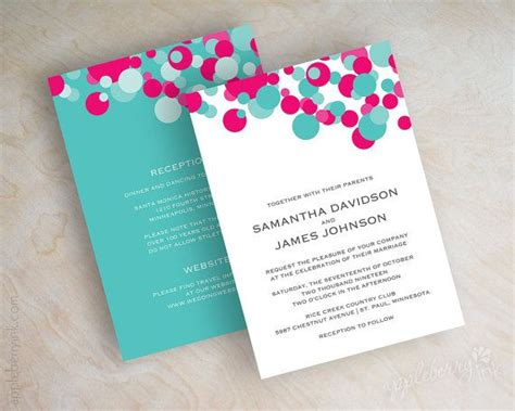 Turquoise And Fuchsia Wedding Invitations fuchsia and turquoise polka dot wedding invitations aqua