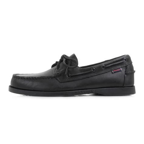 mens sebago dockside black leather casual boat deck shoes