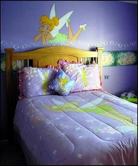 tinkerbell bedroom wallpaper sweet girls bedroom with tinkerbell wallpaper and quilt