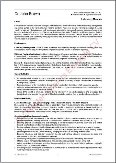 Professional Cv Template Uk Exle Cvs From Cv Master Careers