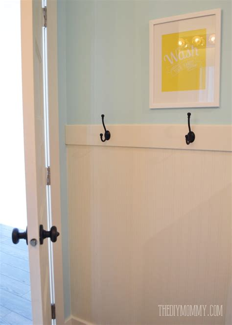 wall hooks for bathroom a diy beadboard hook wall in the kids bathroom the diy