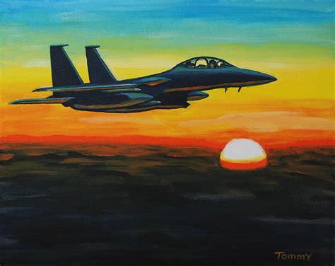 Eagle Decor F15 Eagle In Sunset Painting By Tommy Midyette