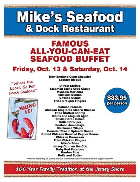 All You Can Eat Seafood Buffet Your Last Chance For Mike S Famous Quot All You Can Eat