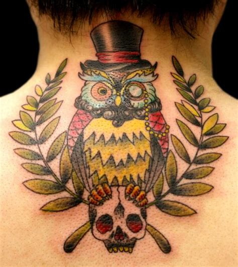 tattoo new school back new school back neck owl tattoo by sunrat tattoo