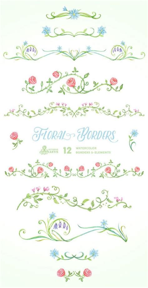 Wedding Invitations Borders High Resolution by Floral Borders Elements 12 Digital Clipart