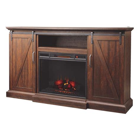 gas fireplace tv console home decorators collection chestnut hill 68 in media console electric fireplace in rustic