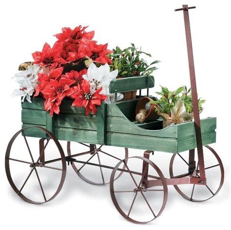 decorative outdoor planters wagon decorative garden planter green contemporary