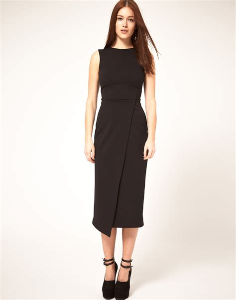 asos collection midi pencil dress with wrap skirt in black