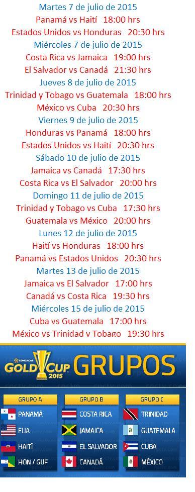 Calendario De Juegos De La Seleccion Mexicana 2015 Calendario Copa Oro 2015 Grupos Y Selecci 243 N Mexicana
