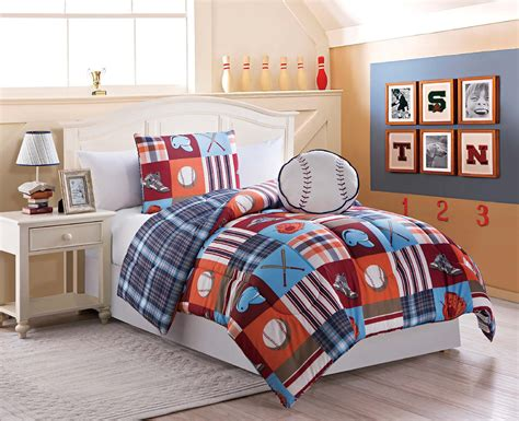 boys twin size 3 pc reversible baseball comforter set with