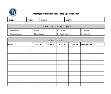 operating schedule template operational plan template 11 free word pdf documents