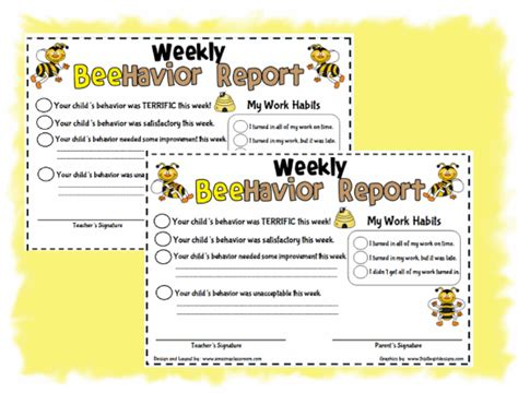 weekly behavior report card template 4 best images of my state report printable my great