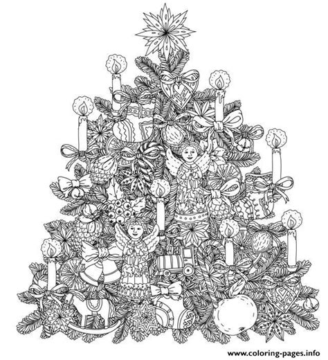 tree decorations coloring pages adult christmas tree with ornaments by mashabr coloring