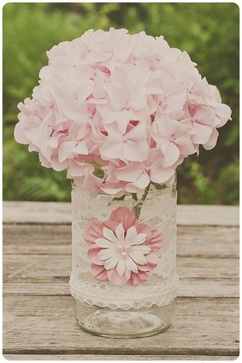 Vintage Lace Wedding Jar. Ivory With Pink. Vintage Wedding