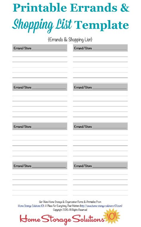 home shopping list template printable errands shopping list template