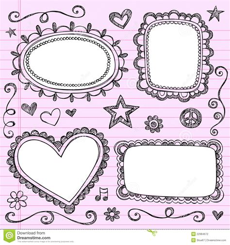 free doodle vector frame frames borders sketchy doodles vector set stock vector
