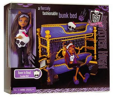 Monster High Dead Tired Clawdeen Wolf Doll Bunk Bed Set Ebay High Doll Bed Set