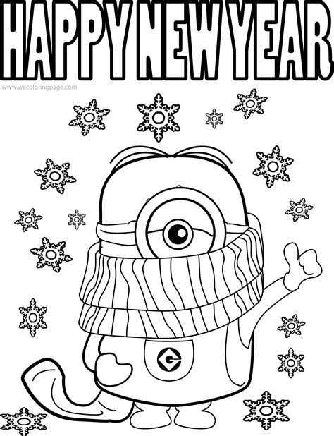 coloring pages for new years best minions quotes and picture cold weather happy