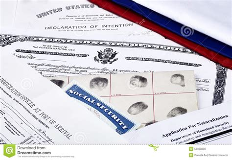 Naturalization Background Check Us Citizenship Documents Stock Photo Image 55320090