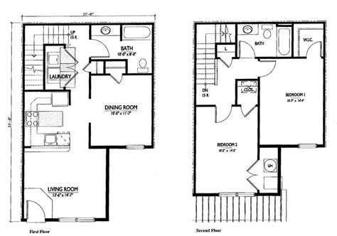 two bedroom house plans with dimensions studio