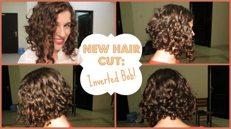 how to cut a aline bob on wavy hair my new hair cut inverted curly bob youtube