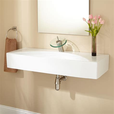 wall mounted sinks for small bathrooms wall hung double bathroom sink brightpulse us