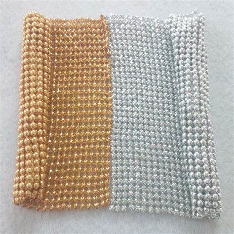 beaded fabric 11x10cm small sling gold silver beaded metal mesh