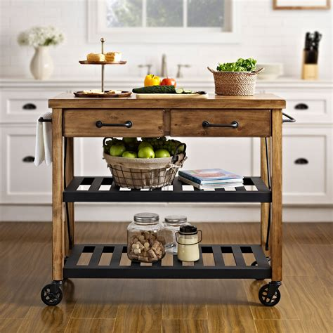 Roots Rack Natural Industrial Kitchen Cart Crosley Industrial Kitchen Furniture