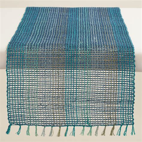 aqua blue table runner blue and aqua abaca table runner market
