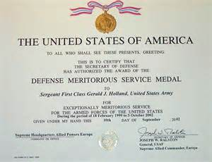 meritorious service medal citation template gerald j certificates