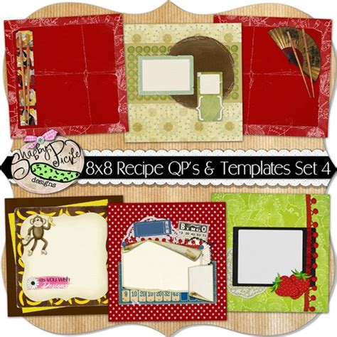 8x8 card insert template 8x8 recipe pages and templates set 4 cookbook