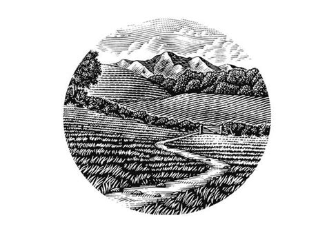 woodcut landscape refined rustic montana