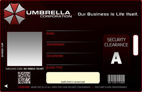 umbrella corporation id card template umbrella corp id by bryzunovrokks on deviantart